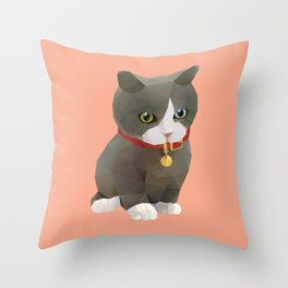 Kitten Polygon Art Throw Pillow