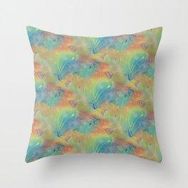 Rainbow Sparkles Leaves Flowers Throw Pillow