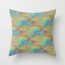 Rainbow Sparkles Leaves Flowers Throw Pillow