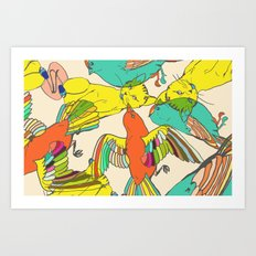 CATS AND BIRDS Art Print