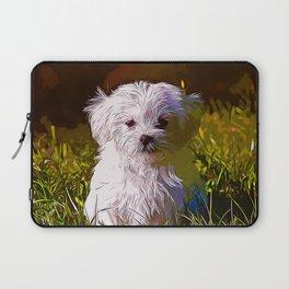 maltese dog vector art Laptop Sleeve