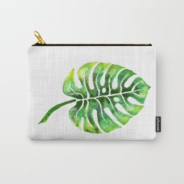 Monstera Green Leaf Carry-All Pouch