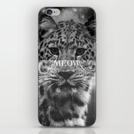Grunge Black And White Leopard Meow iPhone Skin