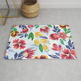 Watercolor Summer Flower Bouquet Rug