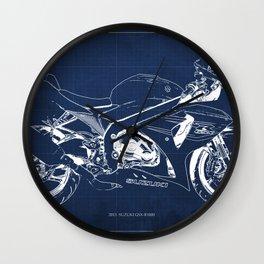 23-2013 Suzuki GSX-R1000 BLUE, Motorcycle blueprint Wall Clock