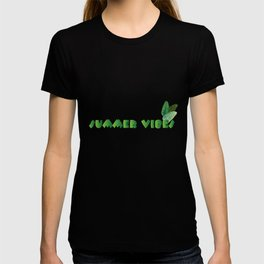 Summer Leaves - Blue Background T-shirt