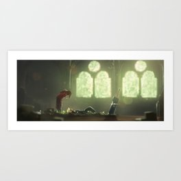 Flowers Blooming in the Church Art Print
