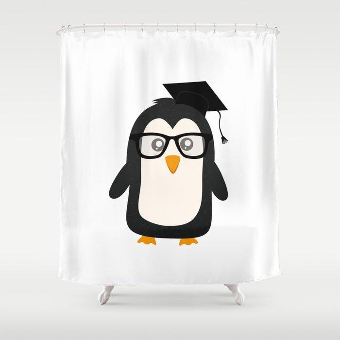 Penguin Nerd Shower Curtain