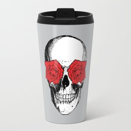 Skull and Roses | Grey and Red Travel Mug
