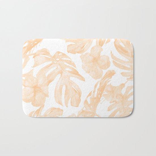 Island Vacation Hibiscus Palm Leaf Coral Apricot Orange Bath Mat