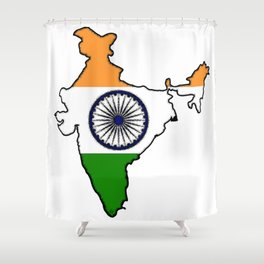 India Map with Indian Flag Shower Curtain