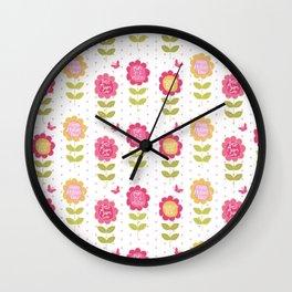 Modern pink orange floral vector best mum typography Wall Clock