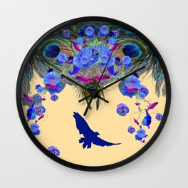 BLUE MORNING GLORIES & FLYING BLUE BIRD ART Wall Clock
