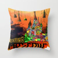 moscow Throw Pillows featuring Moscow  by sladja