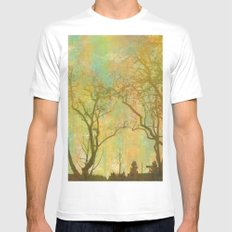 Golden Tree Silhouette MEDIUM White Mens Fitted Tee