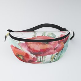 Watercolor red poppies flowers Fanny Pack