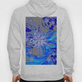 MODERN ROYAL BLUE WINTER SNOWFLAKES GREY ART Hoody