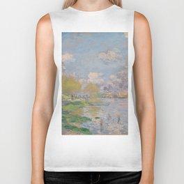 Spring by the Seine by Claude Monet Biker Tank