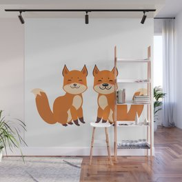 cute fox, boy and girl with funny face and fluffy tails on white background Wall Mural