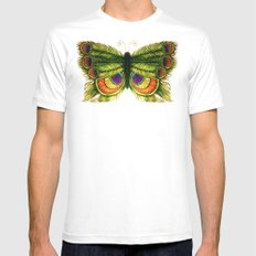 Peacock Feather Fly White MEDIUM Mens Fitted Tee
