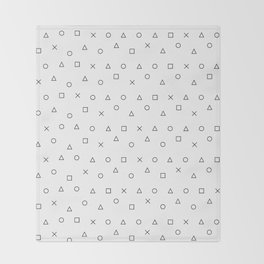 gaming pattern - gamer design - playstation controller symbols Throw Blanket
