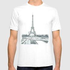 Dramatic Eiffel  White MEDIUM Mens Fitted Tee