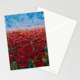 Poppy Field Palette Knife Painting By OLena Art Stationery Cards