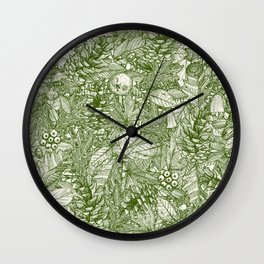 forest floor green ivory Wall Clock