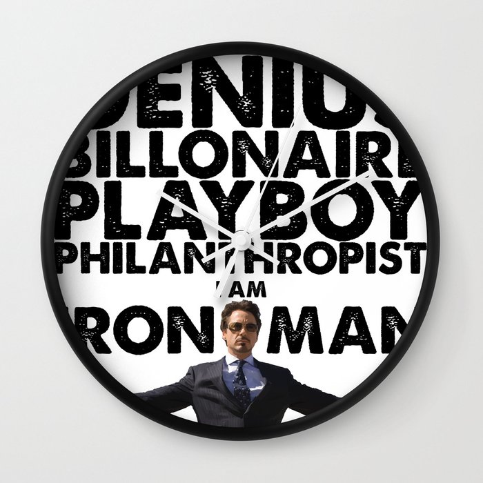 Iron man genius billionaire playboy philanthropist wall clock by crhodes23 society6