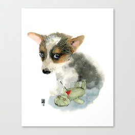 little dog with voodoo doll begging for love Canvas Print