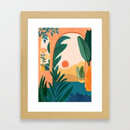 Santa Fe Oasis / Desert Landscape with Plants Framed Art Print