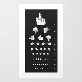 MIDDLE FINGER VISION TEST in black Art Print