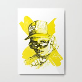 Digital Drawing #34 - Easy E in Yellow Metal Print