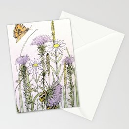Bees Butterfly Thistle Watercolor Illustration Nature Art Stationery Cards