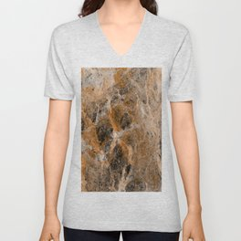 Rusting Marble - Abstract Marble Effect Painting in gold, bronze, black and white Unisex V-Neck