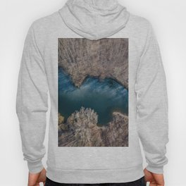Frozen pond aerial view. Spring landscape from drone. Hoody