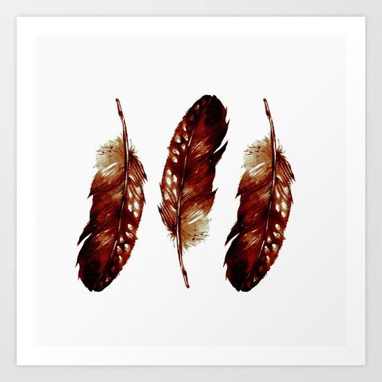 Three Feathers Brown Art Print