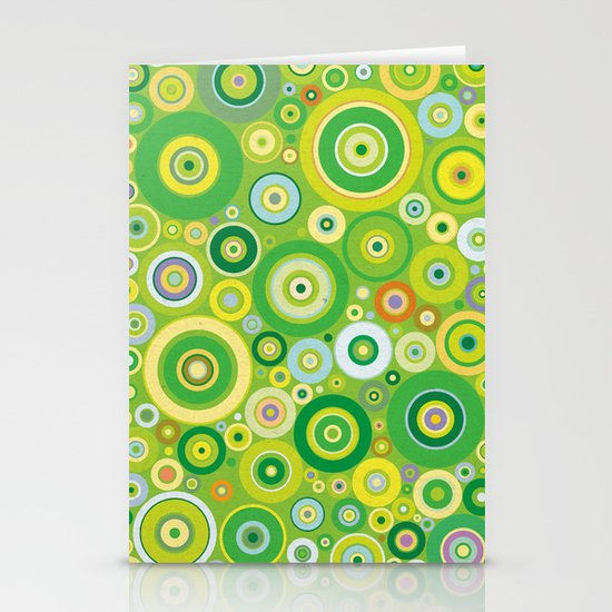 Green circles vintage pattern Stationery Cards