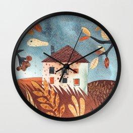Rural autumn watercolor landscape in collage technique. Cut out illustration. Wall Clock