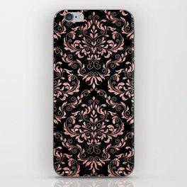 Rose Gold Glitter and Black Damask iPhone Skin