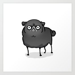 Angry pug - black Art Print