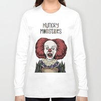pennywise Long Sleeve T-shirts featuring Pennywise is hungry by Andres Eladio