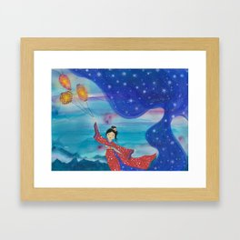 Japanese Geisha in Kimono with Flying Lanterns in the Sky Framed Art Print