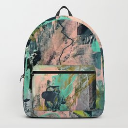 Connect [3]: a vibrant acrylic abstract in neon green, blues, pinks, & hints of orange Backpack