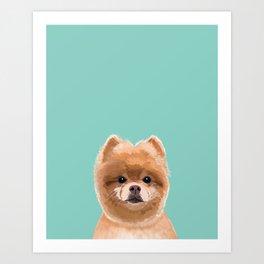 Pomeranian dog portrait minty cute art gifts for dog breed pom lovers Art Print