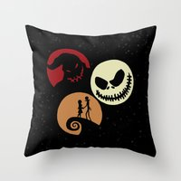 nightmare before christmas Throw Pillows featuring Nightmare Before Christmas by Linda V.