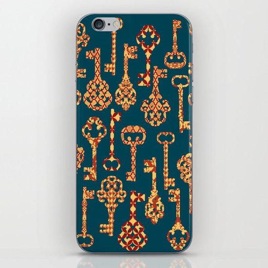 Yellow and Red Skeleton Key Pattern iPhone & iPod Skin