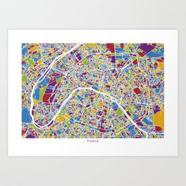 PARIS MAP colors Art Print