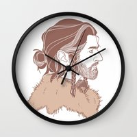 "thorin Wall Clocks featuring Thorin 'Manbun"" Oakenshield by rdjpwns"