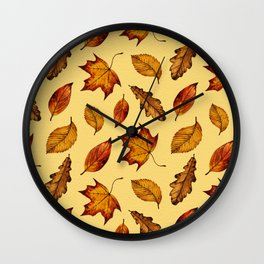 Painted Autumn Leaves Falling Pattern Wall Clock